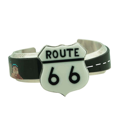 Load image into Gallery viewer, Calvin Desson, Bracelet, Storyteller, Inlay, Old Route 66, Navajo Made, 7""