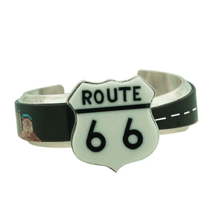 Calvin Desson, Bracelet, Storyteller, Inlay, Old Route 66, Navajo Made, 7""