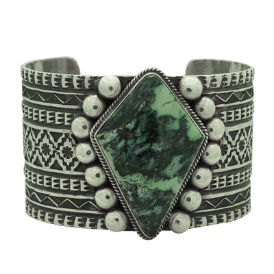 Load image into Gallery viewer, Sunshine Reeves, Bracelet, Damele Turquoise, Stamping, Navajo Handmade, 7""