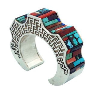 Hank Whitethorne, Bracelet, Peaks, Valleys, Multi Stone Inlay, Navajo Made, 6""