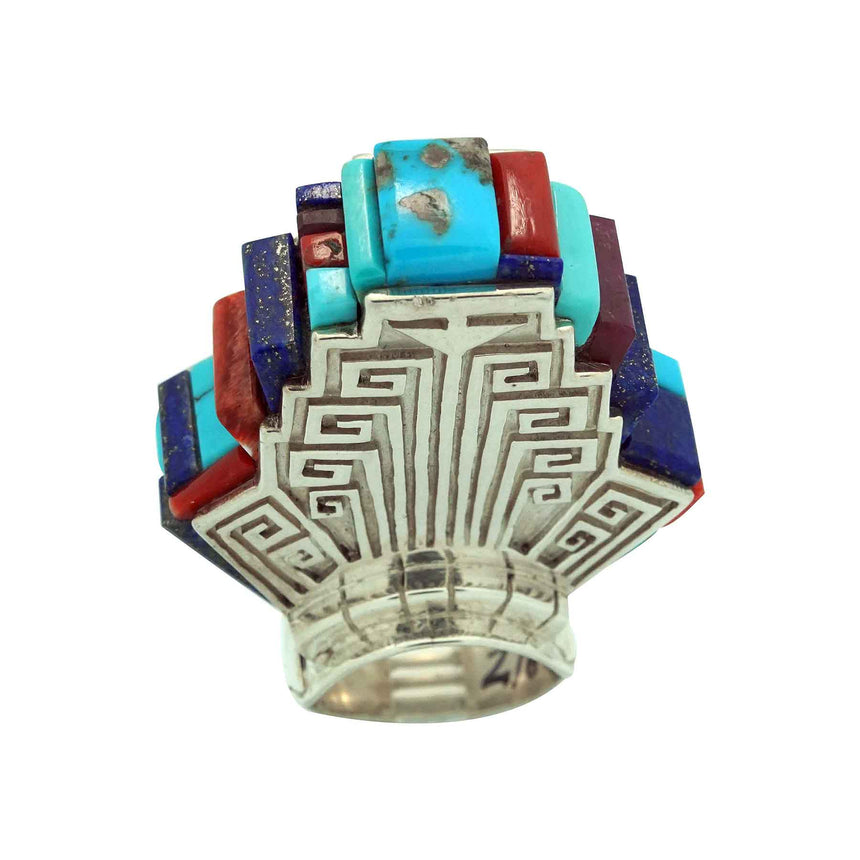 Hank Whitethorne, Ring, Multi Stone Inlay, High Rise, Navajo Made, 10 1/2
