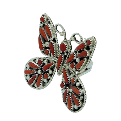 Load image into Gallery viewer, Kyle Wilson, Ring, Butterfly Design, Mediterranean Coral, Navajo Handmade, 9