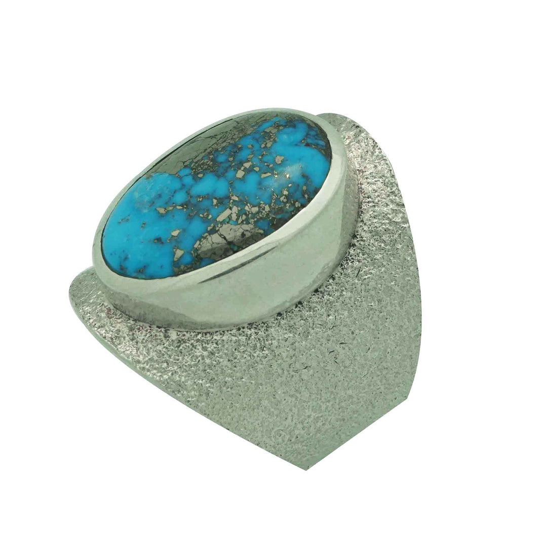 Darryl Dean Begay, Ring, Morenci Turquoise, Tufa Cast, Navajo Made, 10 1/2