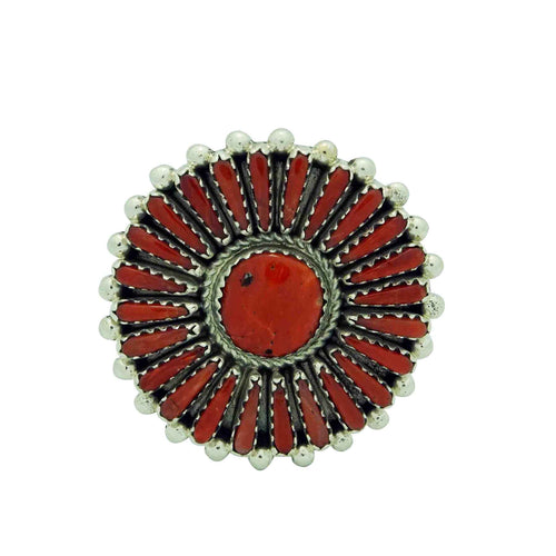 Kyle Wilson, Ring, Mediterranean Coral Cluster, Great Size, Navajo Made, 9