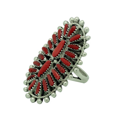 Load image into Gallery viewer, Jaspert Wilson, Ring, Mediterranean Coral, Cluster, Navajo Made, 9 1/2