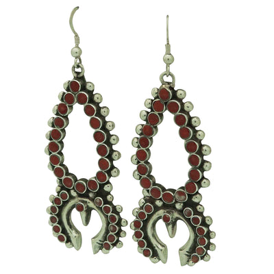 Load image into Gallery viewer, Vincent Shirley, Earrings, Squash Blossom, Mediterranean Coral, Navajo Made, 3""