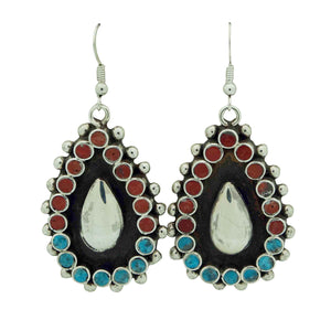 Vincent Shirley, Earrings, Turquoise, Mediterranean Coral, Navajo Made, 2 1/4""