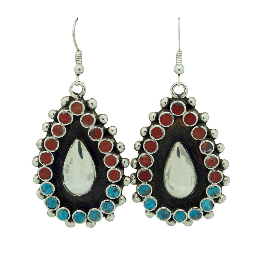 Vincent Shirley, Earrings, Turquoise, Mediterranean Coral, Navajo Made, 2 1/4