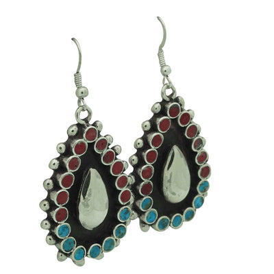 Load image into Gallery viewer, Vincent Shirley, Earrings, Turquoise, Mediterranean Coral, Navajo Made, 2 1/4""