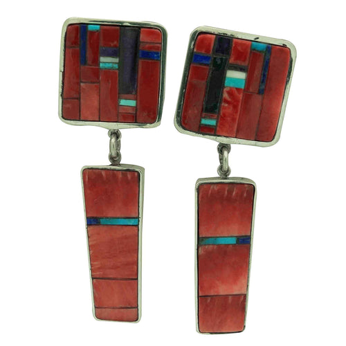 Hank Whitethorne, Earrings, Large Dangles, Coral, Spiny Oyster, Navajo, 3 3/8