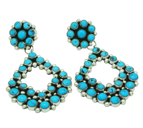 Melvin, Tiffany Jones, Cluster Earrings, Big, Kingman Turquoise, Navajo Made, 3