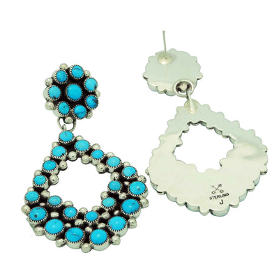 Load image into Gallery viewer, Melvin, Tiffany Jones, Cluster Earrings, Big, Kingman Turquoise, Navajo Made, 3""