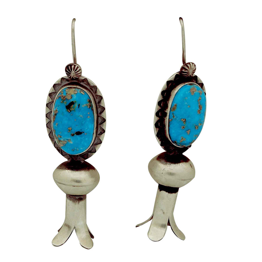 Derrick Cadman, Earrings, Kingman Turquoise, Blossom, Navajo Handmade, 2 7/8