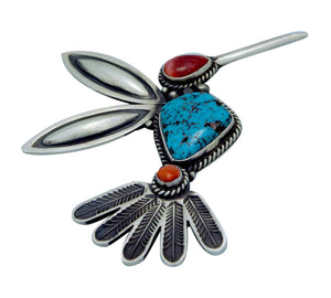Herman Smith, Pin, Pendant, Hummingbird, Turquoise, Shell, Navajo Handmade, 3""