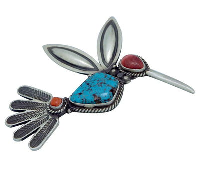 Load image into Gallery viewer, Herman Smith, Pin, Pendant, Hummingbird, Turquoise, Shell, Navajo Handmade, 3""