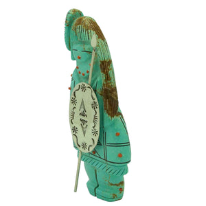 Claudia Peina, Zuni Fetish, Warrior Maiden, Turquoise, Hand Carved