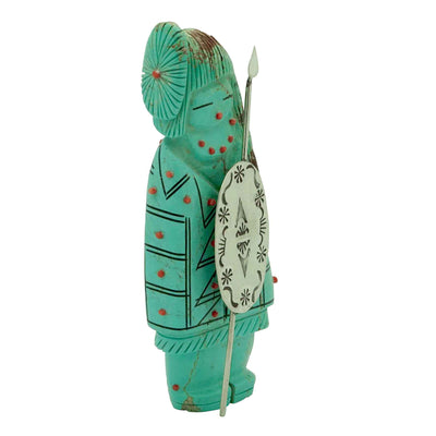 Load image into Gallery viewer, Claudia Peina, Zuni Fetish, Warrior Maiden, Turquoise, Hand Carved
