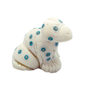 "Zuni Hand Carved Fetish, Frog, Marble, Turquoise, 2 1/2"" x 2"""