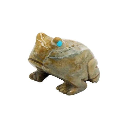 Signed, Zuni Fetish, Frog, Picasso Marble, Hand Carved, 1 1/8