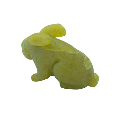 "Load image into Gallery viewer, Lance Cheama, Zuni Fetish, Rabbit, Serpentine, Hand Carved, 1 1/2"" x 5/8"""