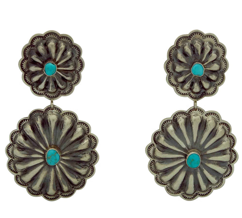 Rita Lee, Dangle Earrings, Double Concho, Turquoise, Navajo Handmade, 2