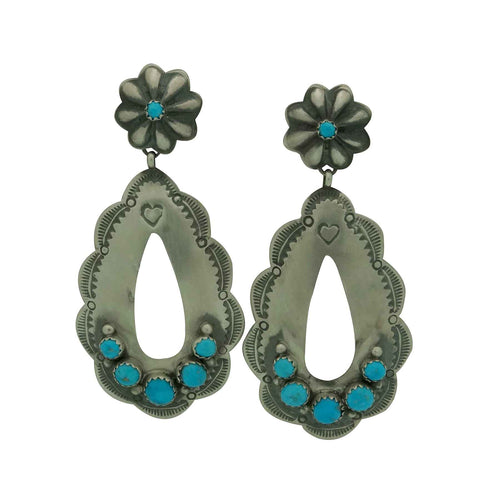 Rita Lee, Dangle Earrings, Dangle Cutout, Turquoise, Navajo Handmade, 2 7/8