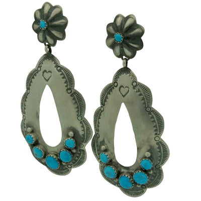 Load image into Gallery viewer, Rita Lee, Dangle Earrings, Dangle Cutout, Turquoise, Navajo Handmade, 2 7/8""