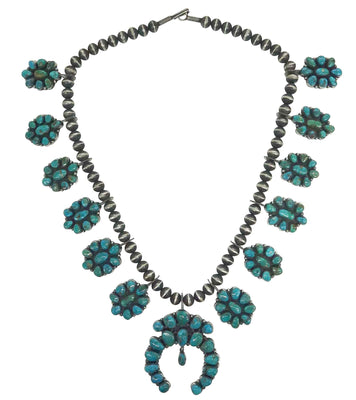 Load image into Gallery viewer, Andy Cadman, Cluster Necklace, Blue Gem Turquoise, Navajo Handmade, 28""