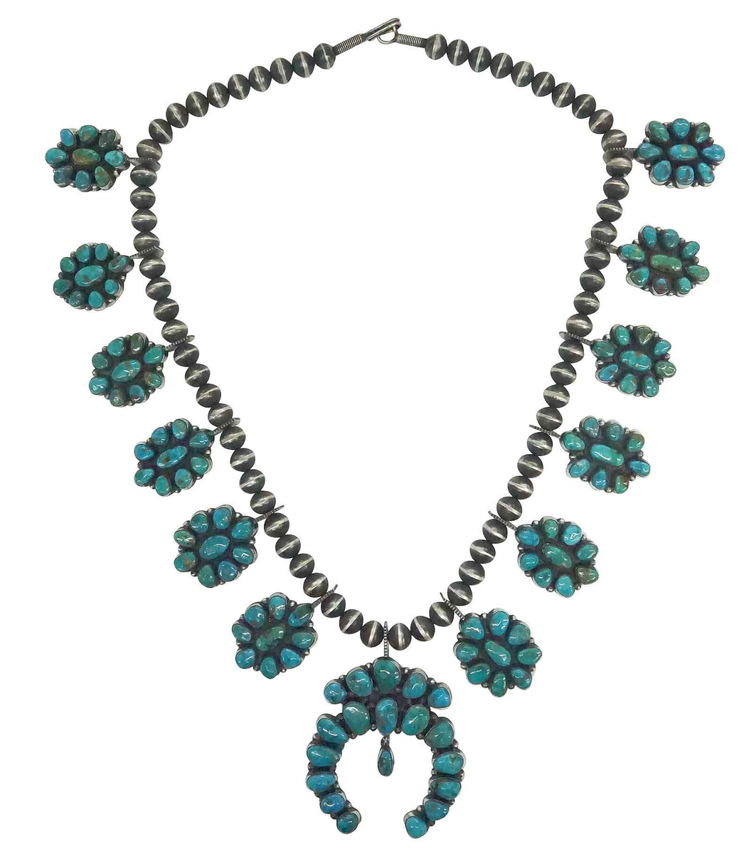 Andy Cadman, Cluster Necklace, Blue Gem Turquoise, Navajo Handmade, 28