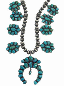 Andy Cadman, Cluster Necklace, Blue Gem Turquoise, Navajo Handmade, 28""