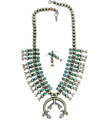 Load image into Gallery viewer, Selena Warner, Squash Blossom Necklace, Turquoise, Yei', Earrings, Navajo, 25""