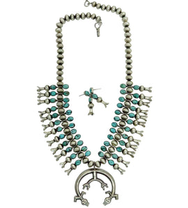 Selena Warner, Squash Blossom Necklace, Turquoise, Yei', Earrings, Navajo, 25""