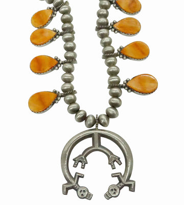 Load image into Gallery viewer, Selena Warner, Necklace, Spiny Oyster Shell, Earrings, Navajo Handmade, 23""