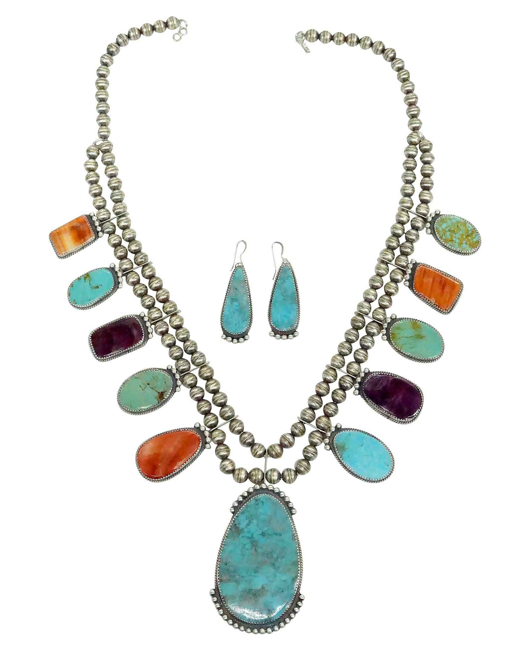 Betty Joe, Necklace, Earrings, Turquoise, Spiny Oyster Shell, Navajo Made, 23