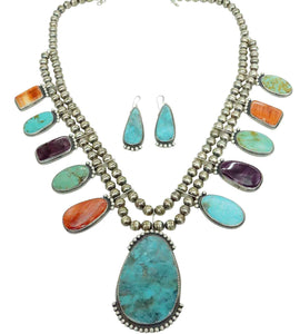 Betty Joe, Necklace, Earrings, Turquoise, Spiny Oyster Shell, Navajo Made, 23""