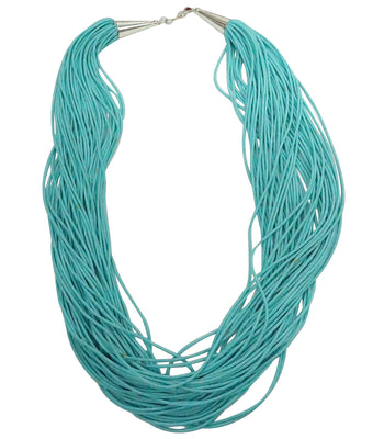 Load image into Gallery viewer, Ramona Bird, Necklace, 50 Strands, Turquoise, Santo Domingo Handmade, 25 1/2""
