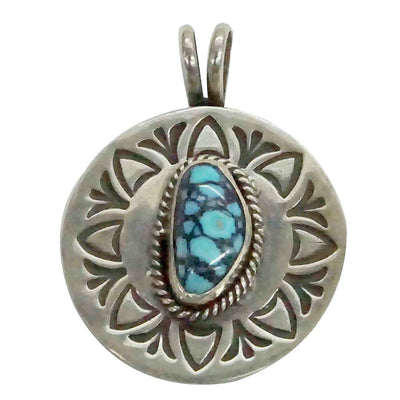 Load image into Gallery viewer, Bo Reeves, Pendant, Danny Boy Turquoise, Stamped, Navajo Handmade, 1 3/8""