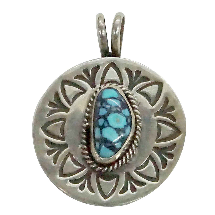 Bo Reeves, Pendant, Danny Boy Turquoise, Stamped, Navajo Handmade, 1 3/8