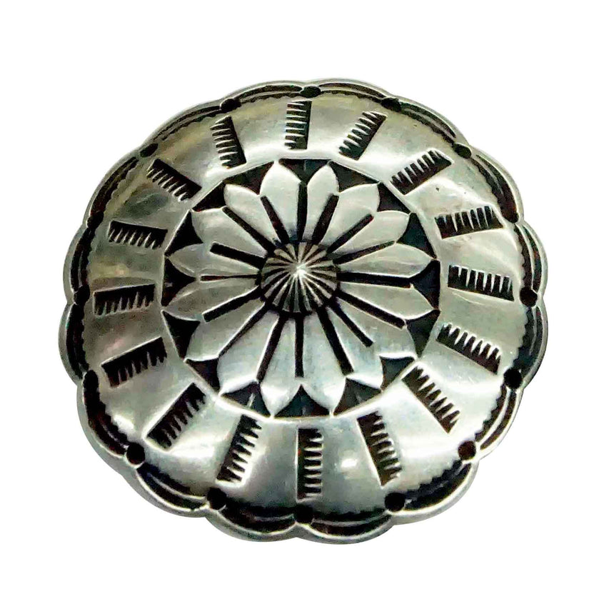 Bo Reeves, Button, Old Style Navajo Silver, Stamping, Handmade, 1 1/2