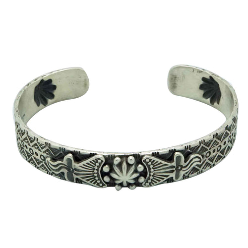 Bo Reeves, Bracelet, Narrow Design, Stamping, Bump Outs, Navajo Handmade, 6 3/4