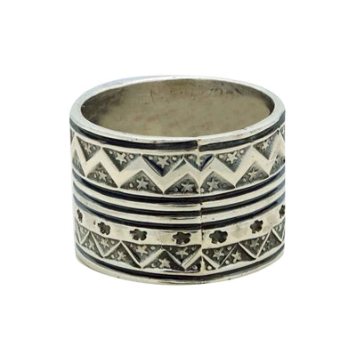 Load image into Gallery viewer, Bo Reeves, Ring, Wide, Star Stamping, Sterling Silver, Navajo Handmade, 11.5
