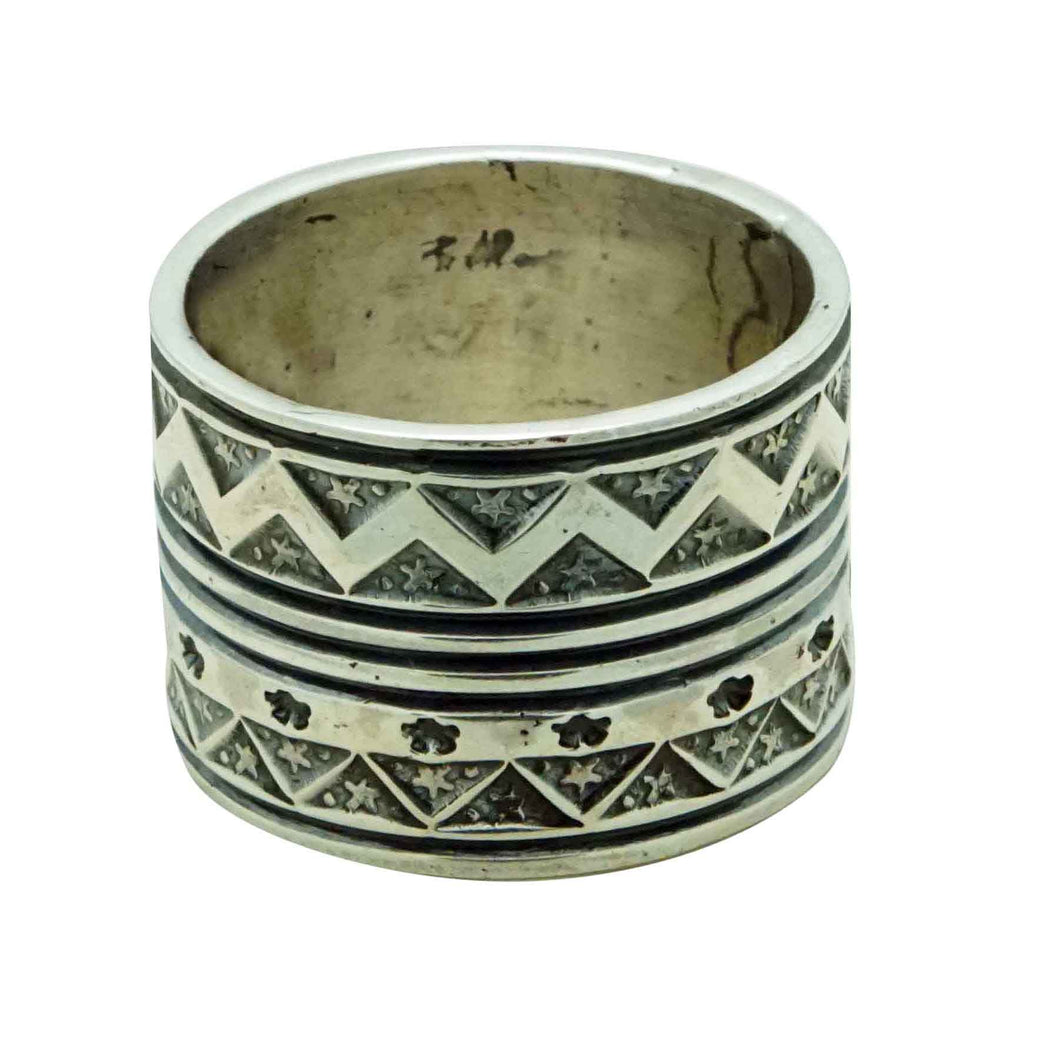 Bo Reeves, Ring, Wide, Star Stamping, Sterling Silver, Navajo Handmade, 11.5
