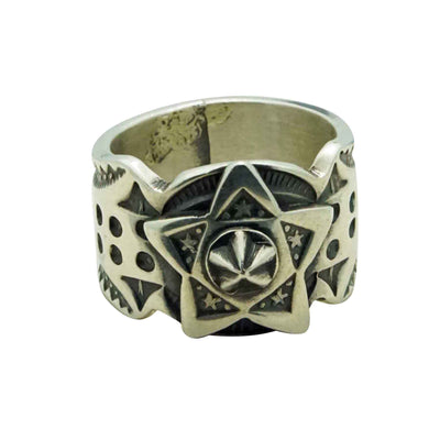 Load image into Gallery viewer, Bo Reeves, Ring, Antique Brushed Finish, Star, Stamping, Navajo Handmade, 6