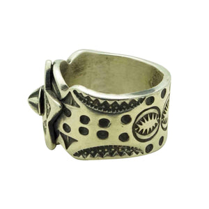 Bo Reeves, Ring, Antique Brushed Finish, Star, Stamping, Navajo Handmade, 6