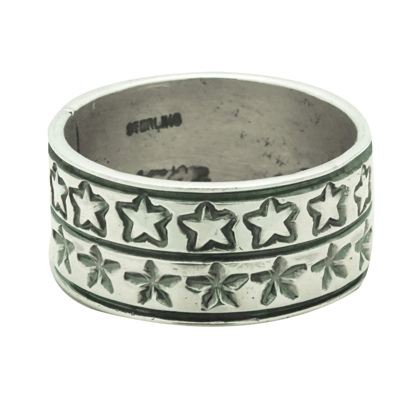 Bo Reeves, Ring, Stamped Band, Stars, Silver, Navajo Handmade, Finger Size 12.5