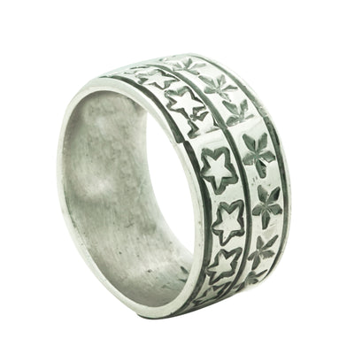 Load image into Gallery viewer, Bo Reeves, Ring, Stamped Band, Stars, Silver, Navajo Handmade, Finger Size 12.5