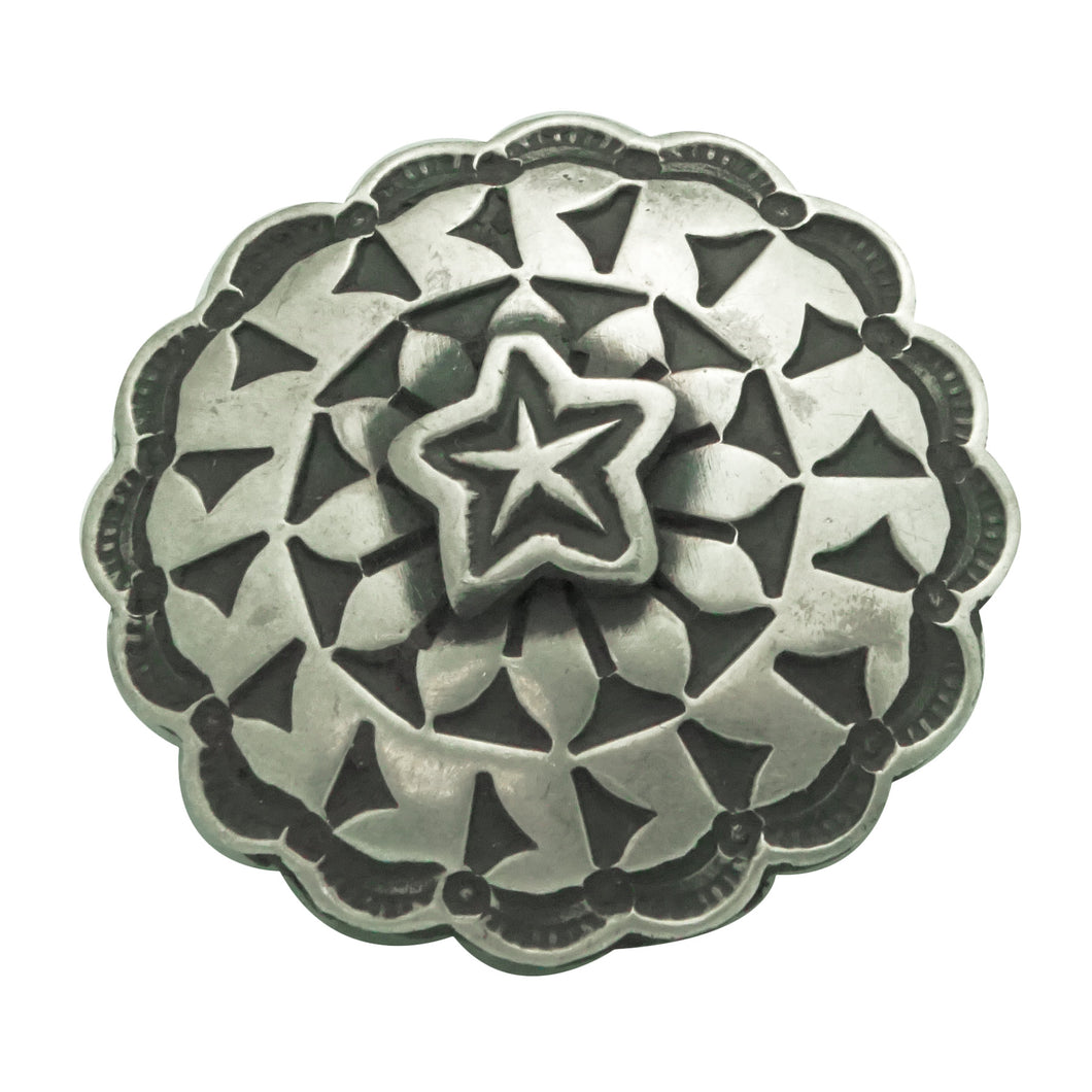 Bo Reeves, Button, Old Style Silver, Star Design, Navajo Handmade, 1