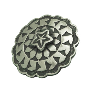 "Bo Reeves, Button, Old Style Silver, Star Design, Navajo Handmade, 1"" Diameter"