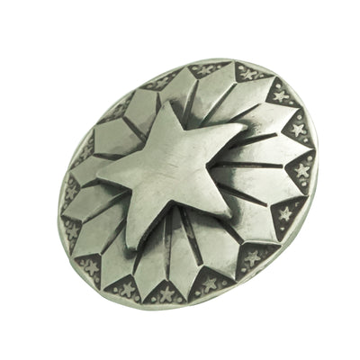 "Load image into Gallery viewer, Bo Reeves, Button, Star Cut Out, Stamping, Silver, Navajo Handmade, 1"" Diameter"
