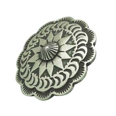 "Load image into Gallery viewer, Bo Reeves, Button, Old Style Navajo Silver, Stamping, Handmade, 1"" Diameter"